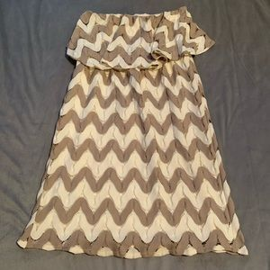 Judith March Tan Cream Chevron Dress EUC Size M